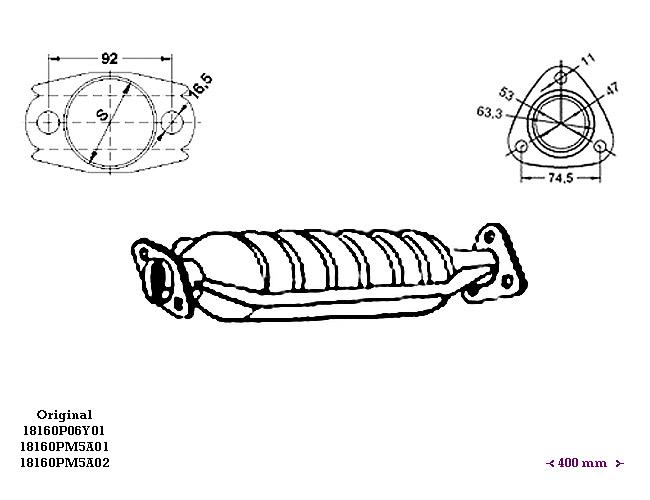 ΚΑΤΑΛΥΤΗΣ HONDA CIVIC 1.3i 16V 1342 cc 55 Kw / 75 cv D13B2 9/89-
